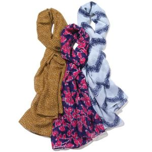 Pretty Printed Scarf Pack $29.99 Item# 084-611 DESCRIPTION  Nothing dresses up a casual outfit quite like a scarf. With this pack of 3 scarves, you can take your pick. Each pack contains 1 white with blue zig-zag print, 1 purple with red floral print and 1 gold with light gold dotted pattern print. · 100% Polyester · Scarf Measurement: 72