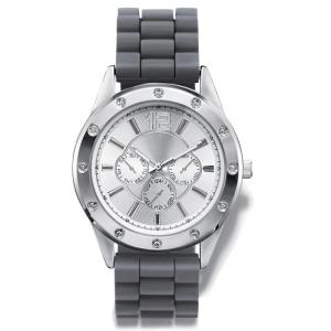 "DESCRIPTION Men's rubber strap watch with round silvertone case, rhinestone embellished bezel, and three faux chronographs on the dial. · Band: 10"" L x 7/8"" W with foldover clasp · Face: 1 3/8"" face only; 1 3/4"" including casing · Battery: Replaceable SR626SW · Movement: Quartz-PC21J · Imported"